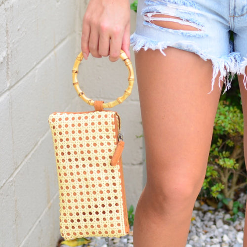 Bamboo Babe Clutch-Tan