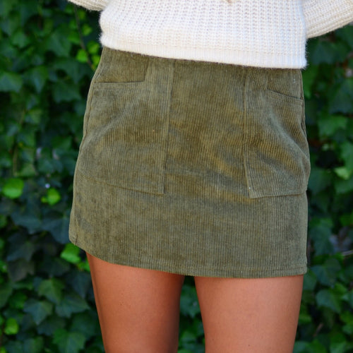 Meet You Later Skirt-Olive