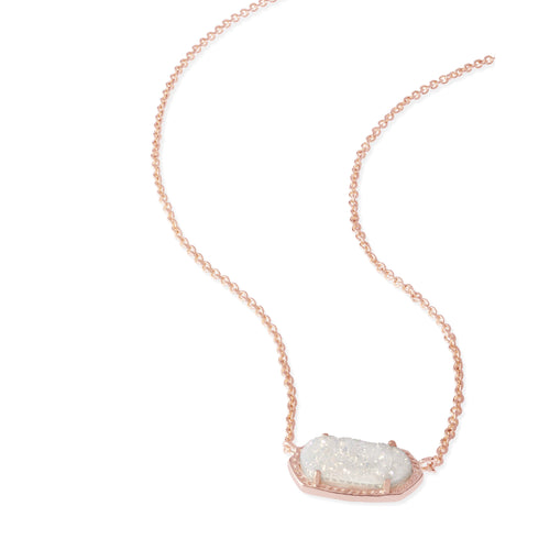 Elisa Rose Gold Pendant Necklace in Iridescent Drusy