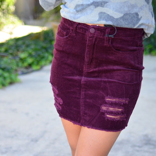 Perfect Love Skirt- Wine