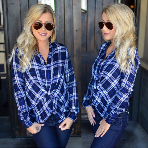Bleached Boyfriend Plaid-Navy