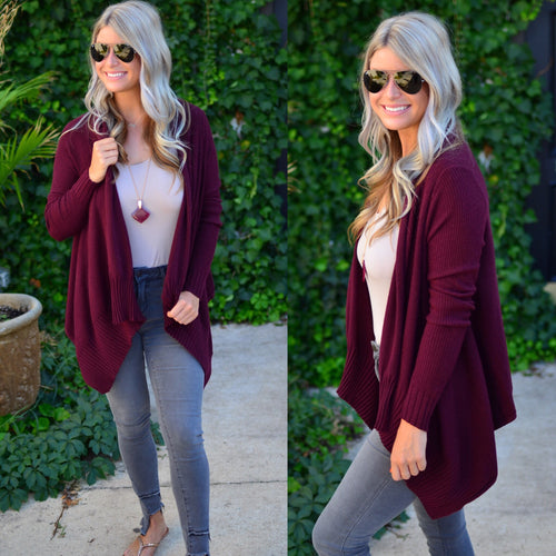 Wrapped In Love Cardigan-Wine