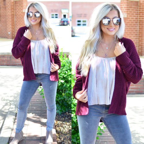 Best of Me Cardigan-Merlot