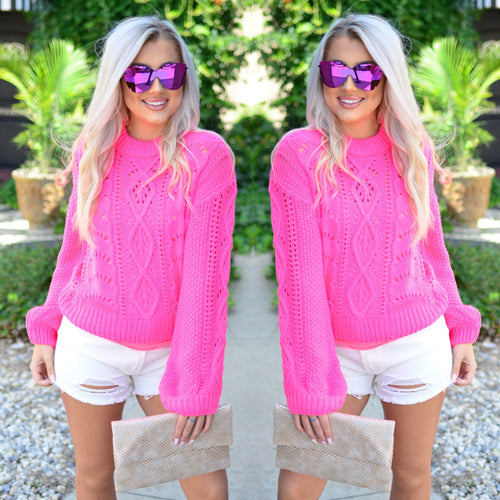 Electric Love Sweater- Hot Pink