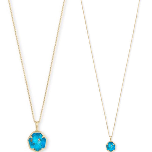 Cynthia Gold Pendant Necklace In Turquoise Bronze Vein
