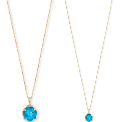 Tae Gold Long Pendant Necklace In Bronze Veined Turquoise Magnesite