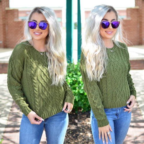 Keep My Secrets Sweater- Olive