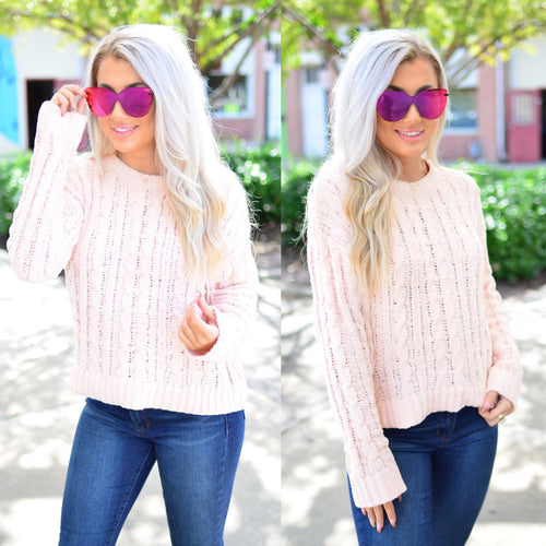 Just One Look Sweater- Blush