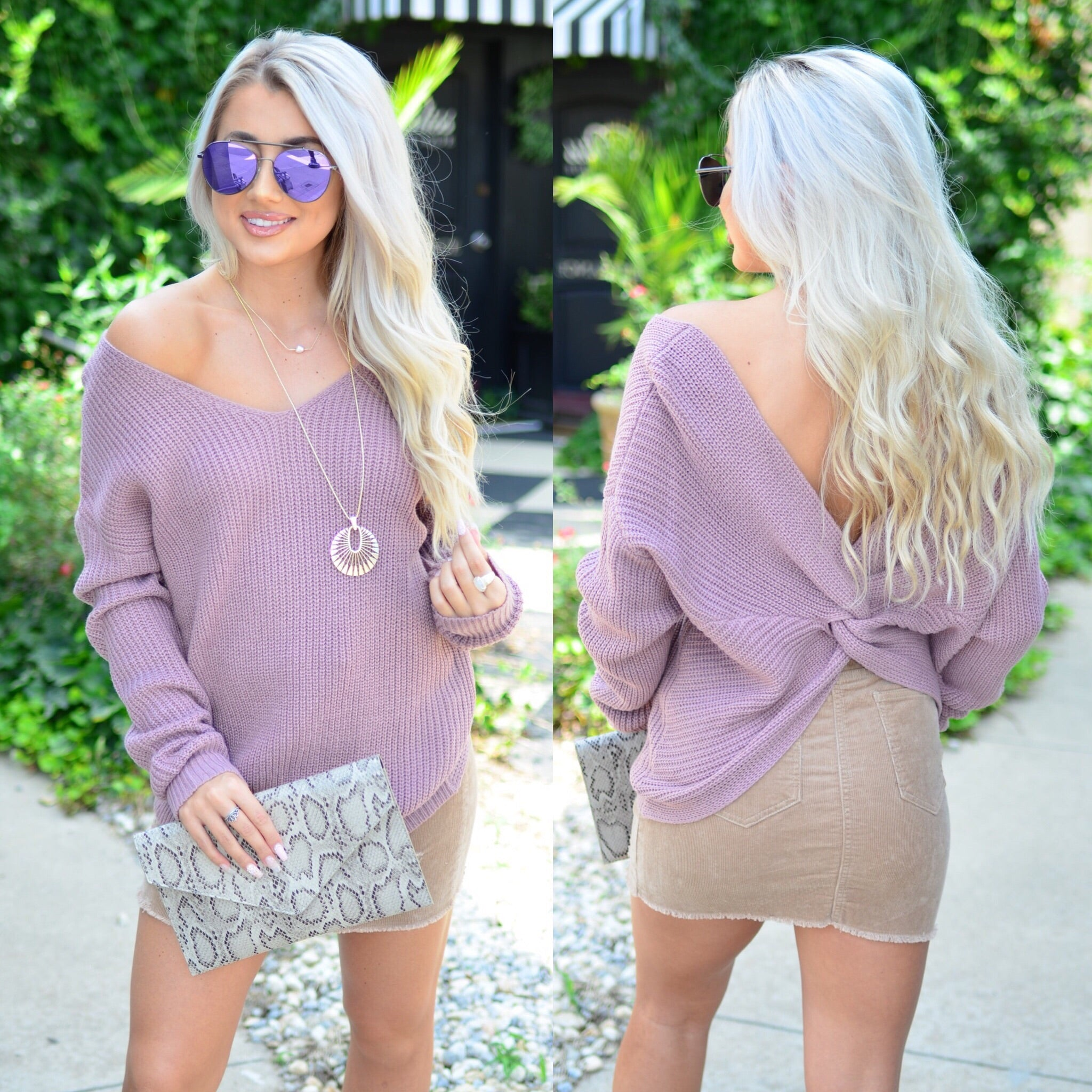 Twist of Fate Sweater- Lilac