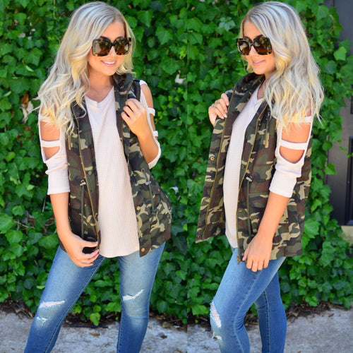The Thought of You Vest-Olive