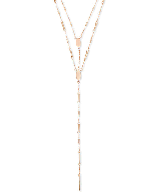 Adelia Y Necklace in Rose Gold