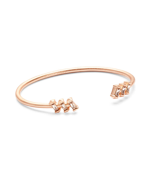 Amaya Rose Gold Cuff Bracelet in Blush Crystal