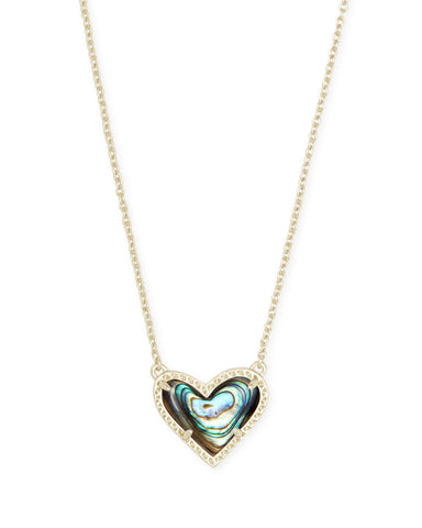 Ari Heart Gold Pendant Necklace In Iridescent Drusy