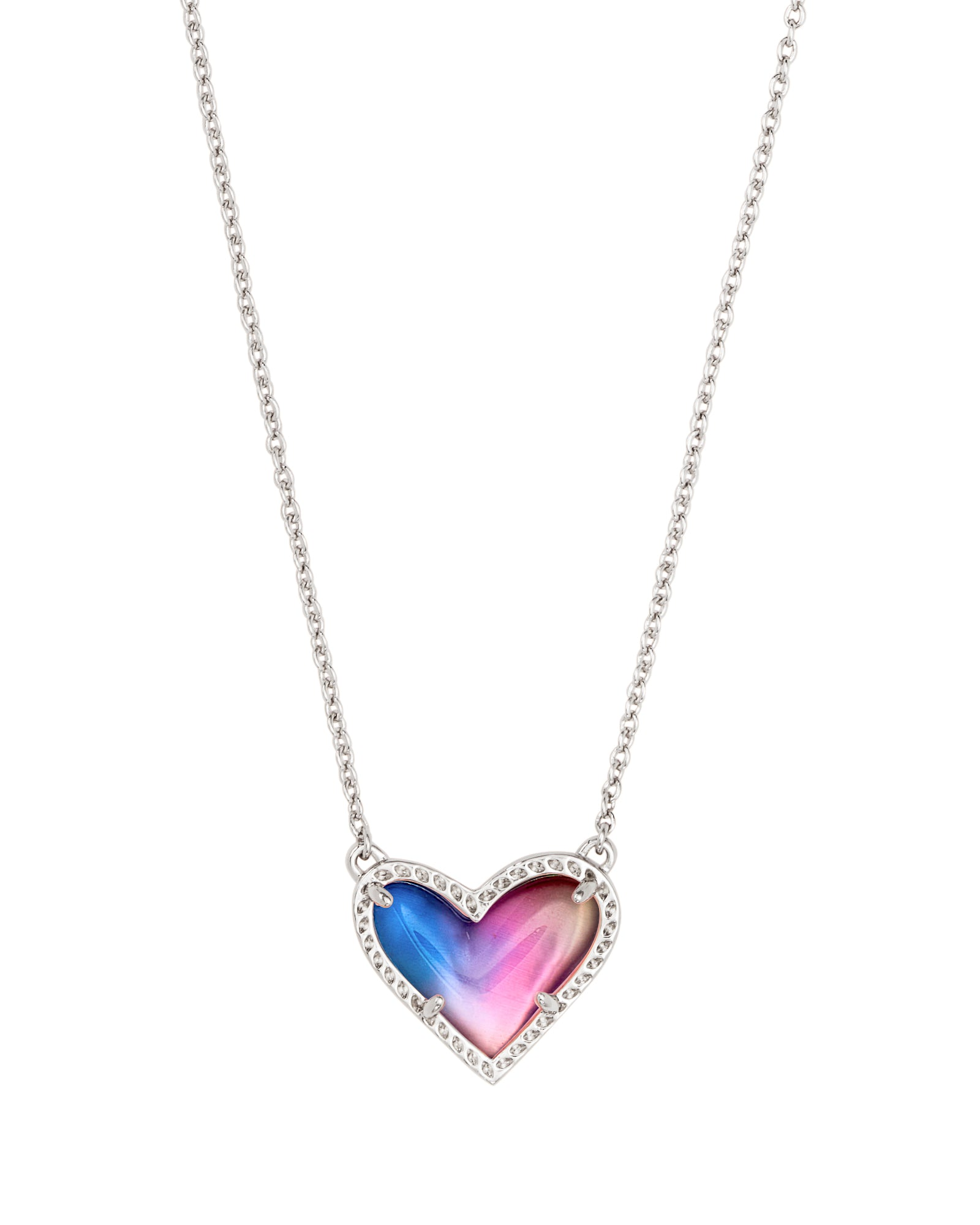 Ari Heart Silver Pendant Necklace In Watercolor Illusion
