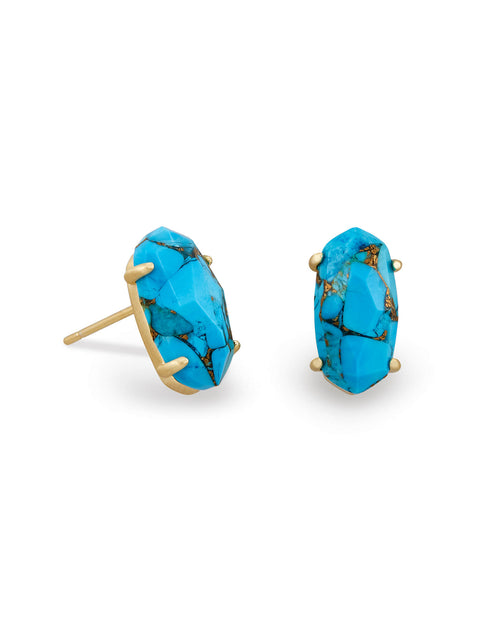 Betty Stud Earrings In Bronze Veined Turquoise