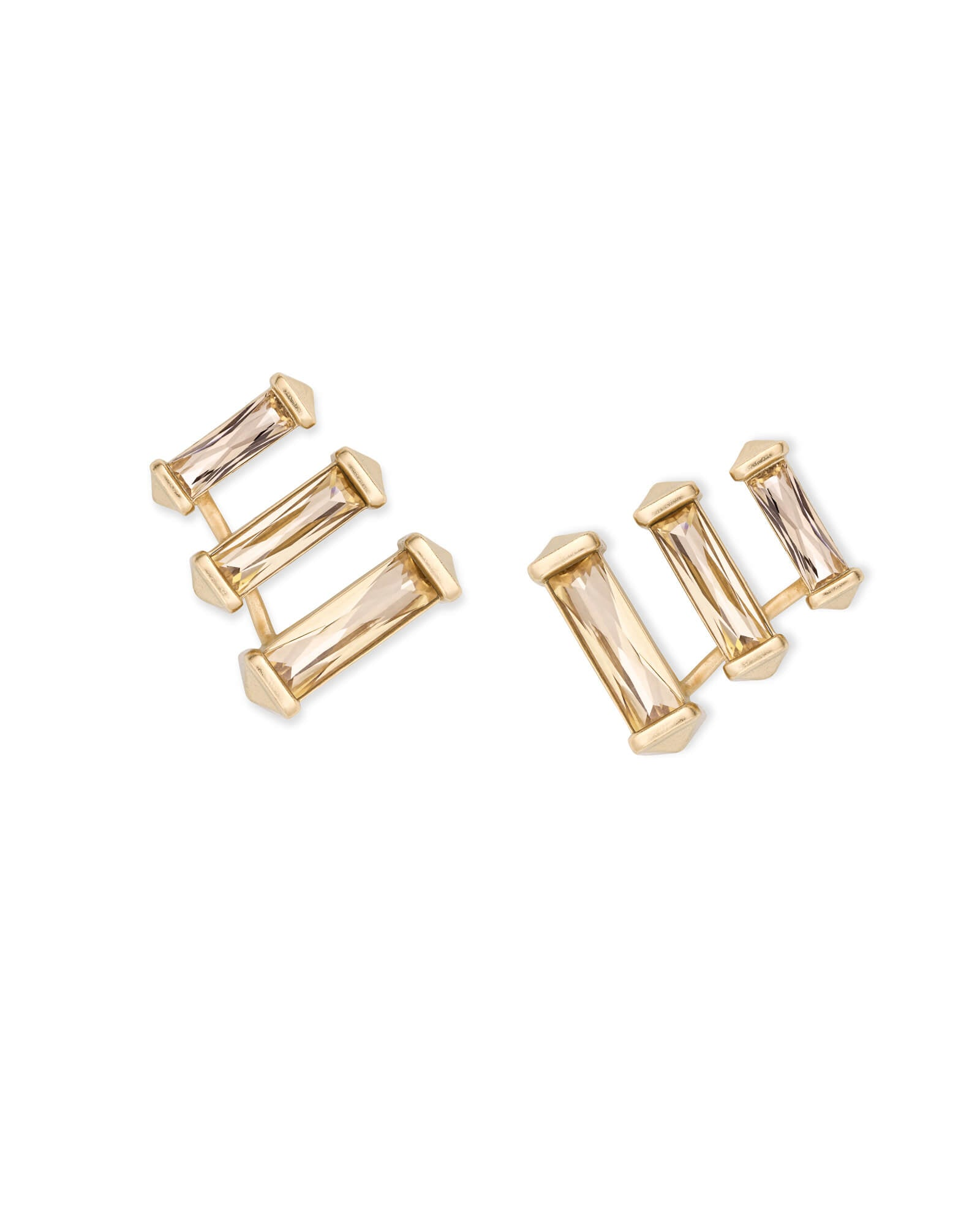 Brooks Gold Ear Climbers in Smoky Crystal