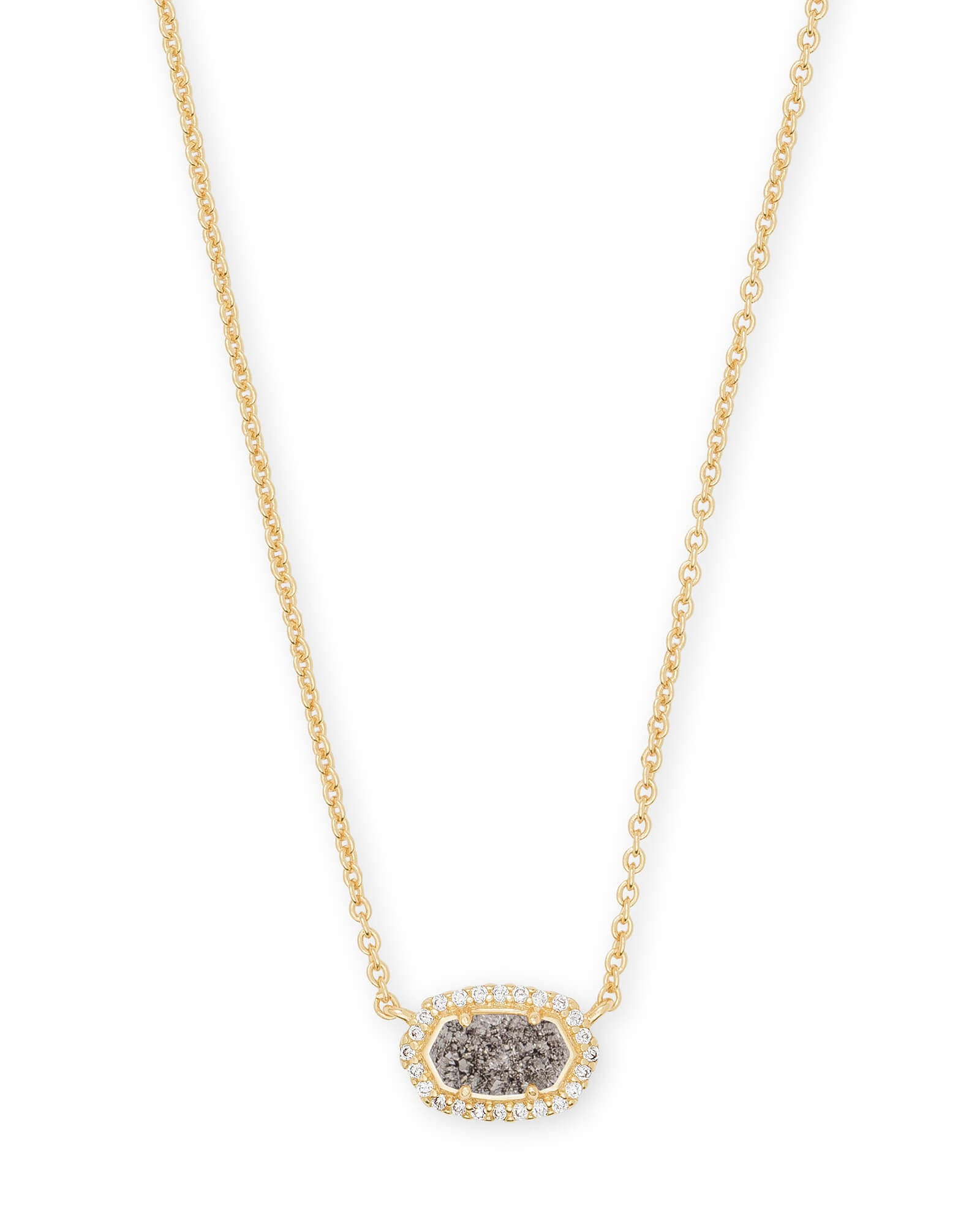 Chelsea Gold Pendant Necklace in Platinum Drusy