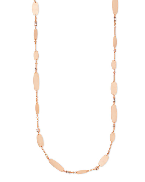 Claret Rose Gold Long Necklace in Blush Mix