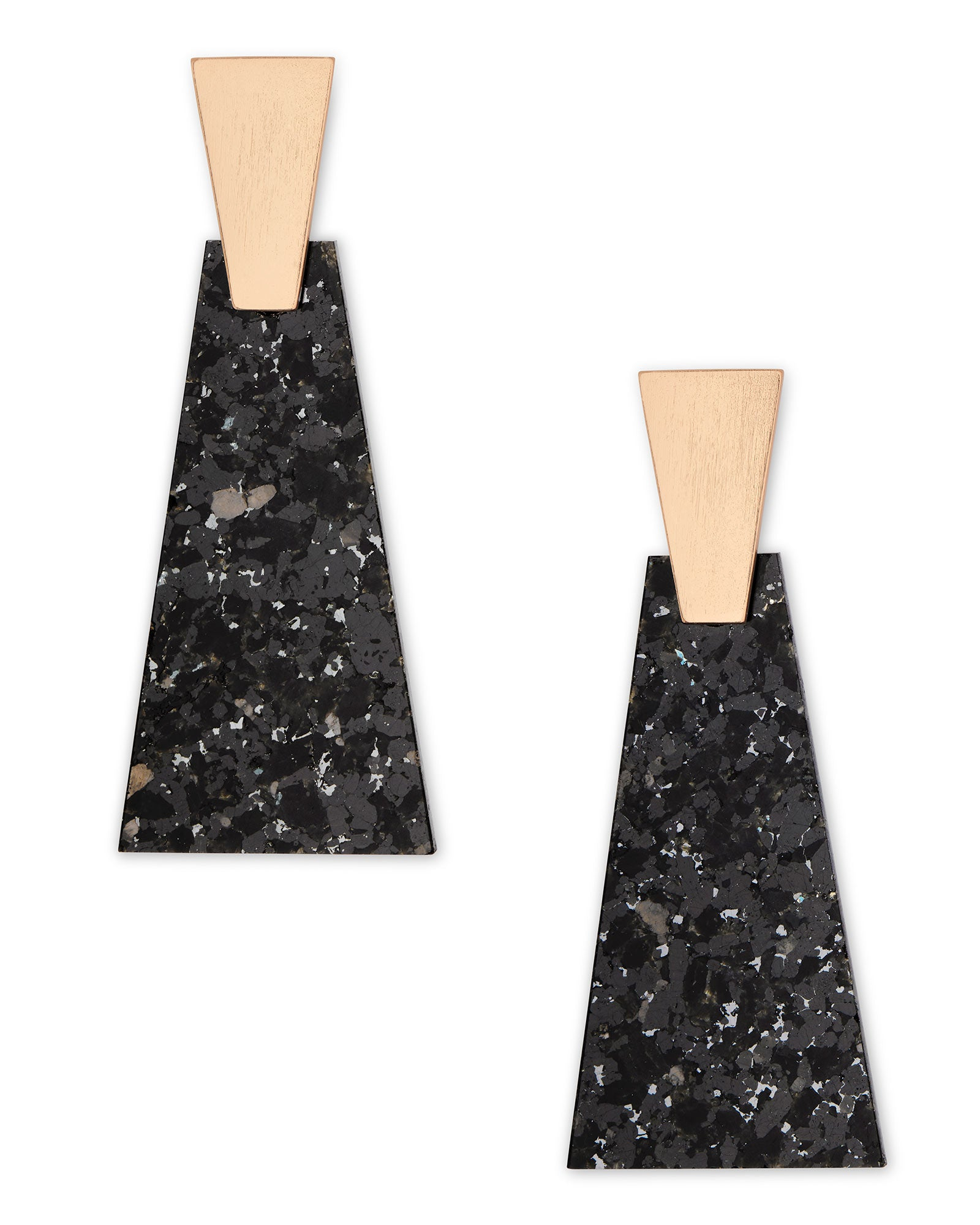 Collins Rose Gold Statement Earrings in Black Granite