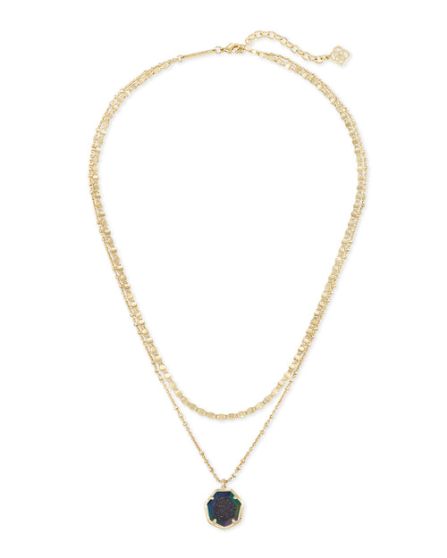 Cynthia Gold Multi Strand Necklace In Mystic Gray Drusy