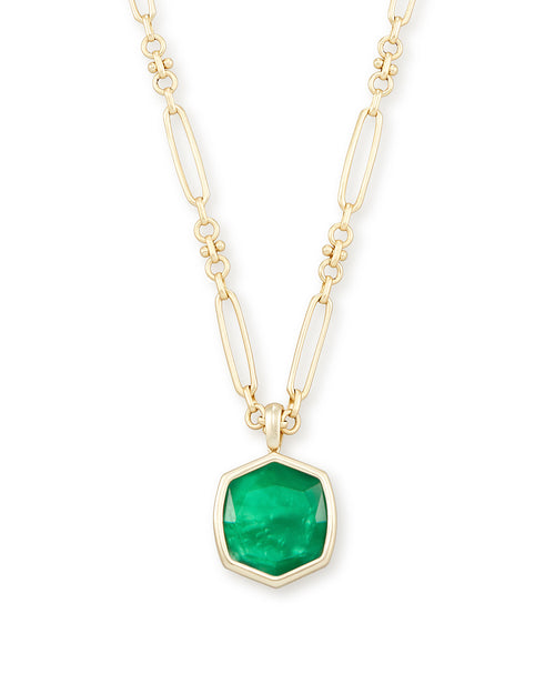 Davis Gold Pendant Necklace in Jade Green Illusion
