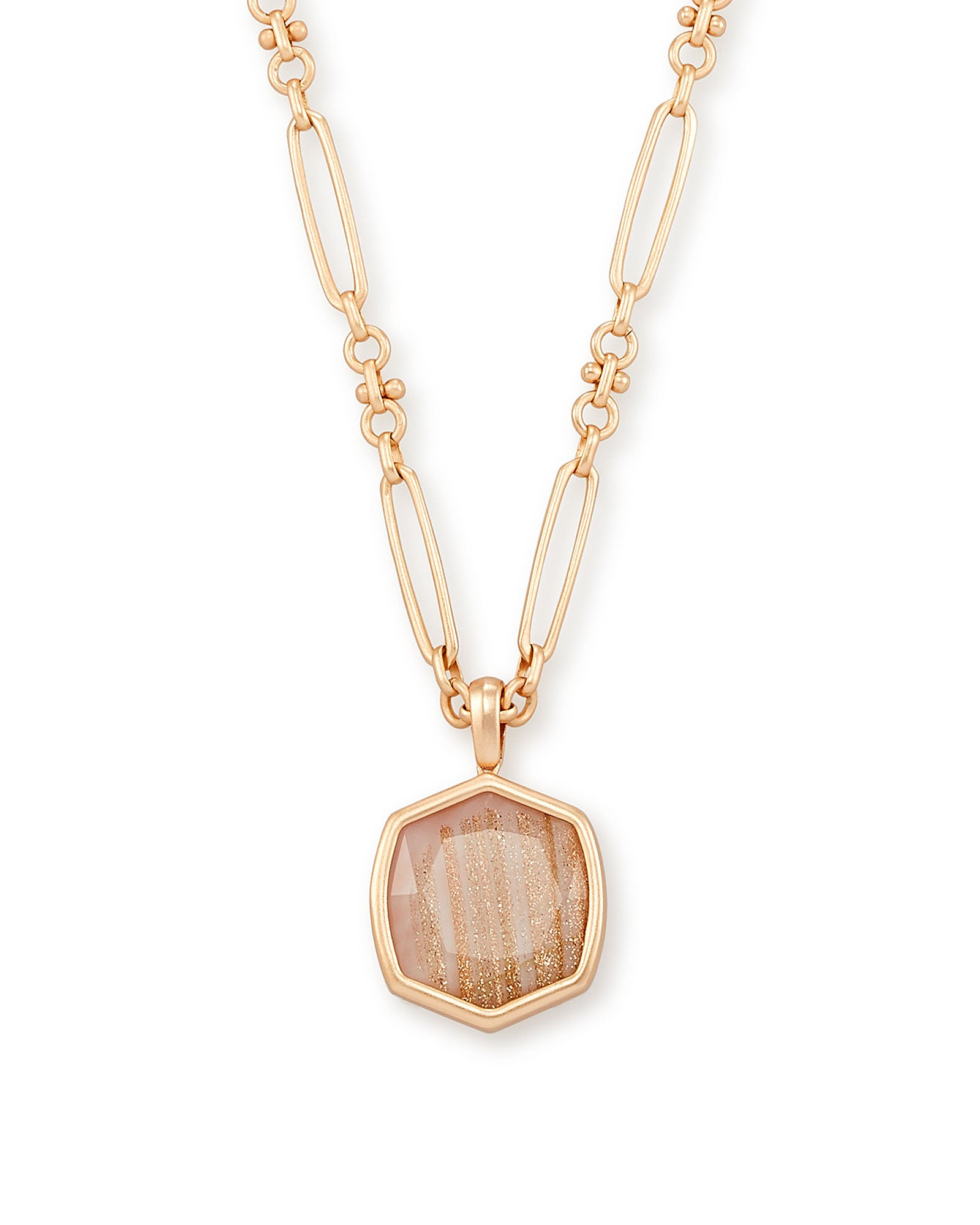 Davis Rose Gold Pendant Necklace In Gold Dusted Pink Illusion