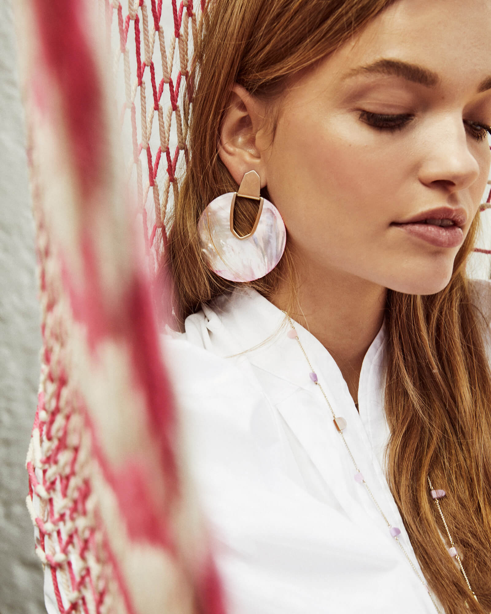 Diane Statement Earrings In Blush Pearl