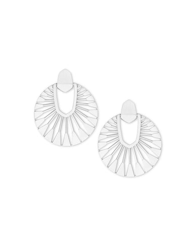 Elle Open Frame Crsytal Drop Earrings in Silver