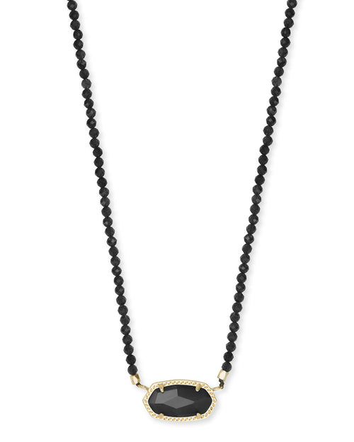 Elisa Gold Beaded Pendant Necklace in Black Glass Mix