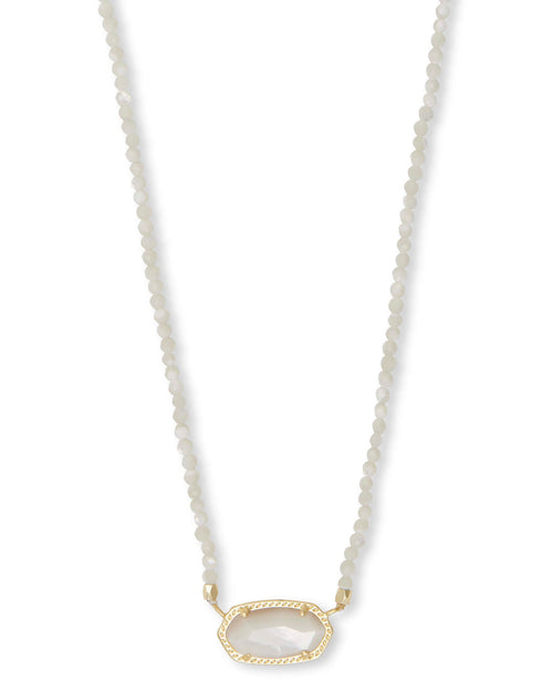 Elisa Gold Beaded Pendant Necklace in Ivory Pearl