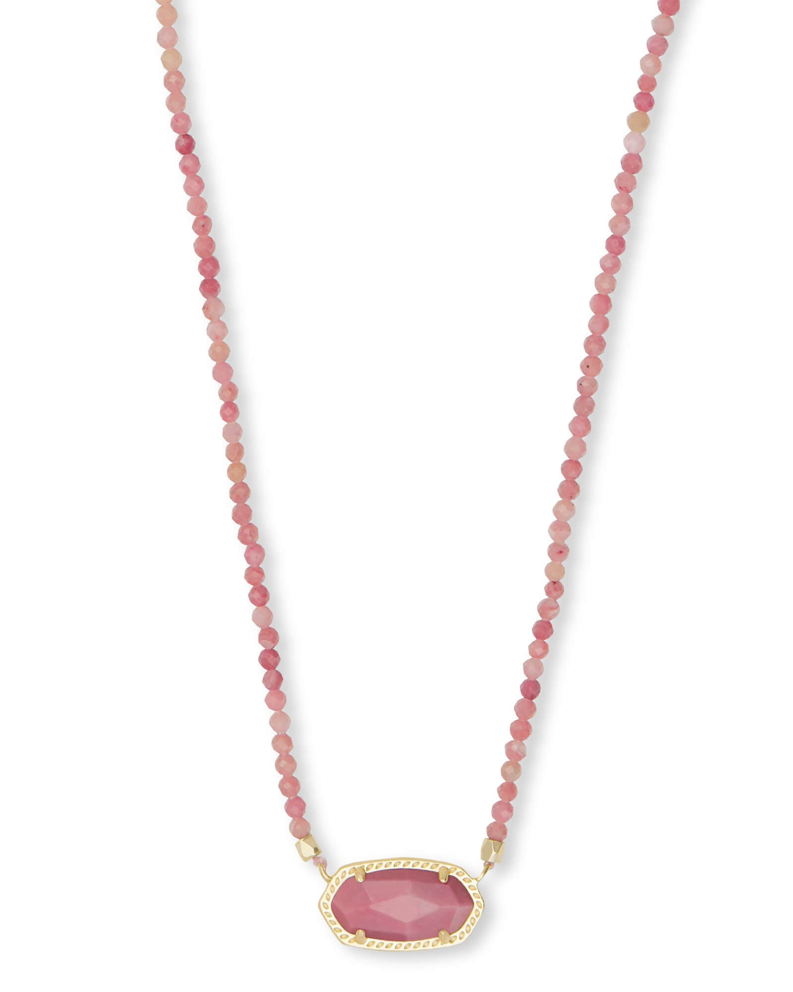 Elisa Gold Beaded Pendant Necklace in Pink Rhodonite