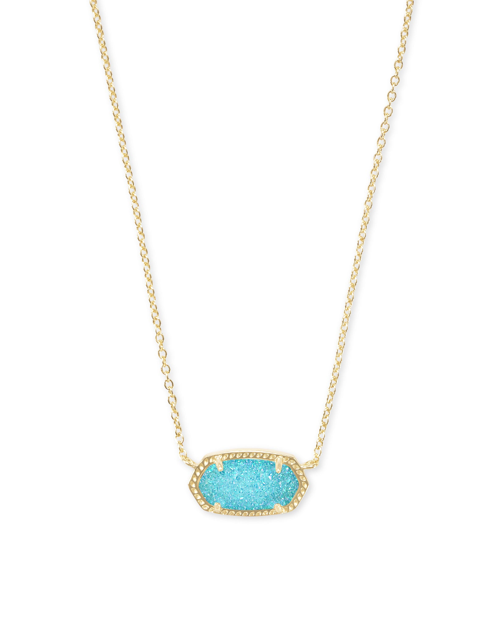Elisa Gold Pendant Necklace in Aqua Drusy