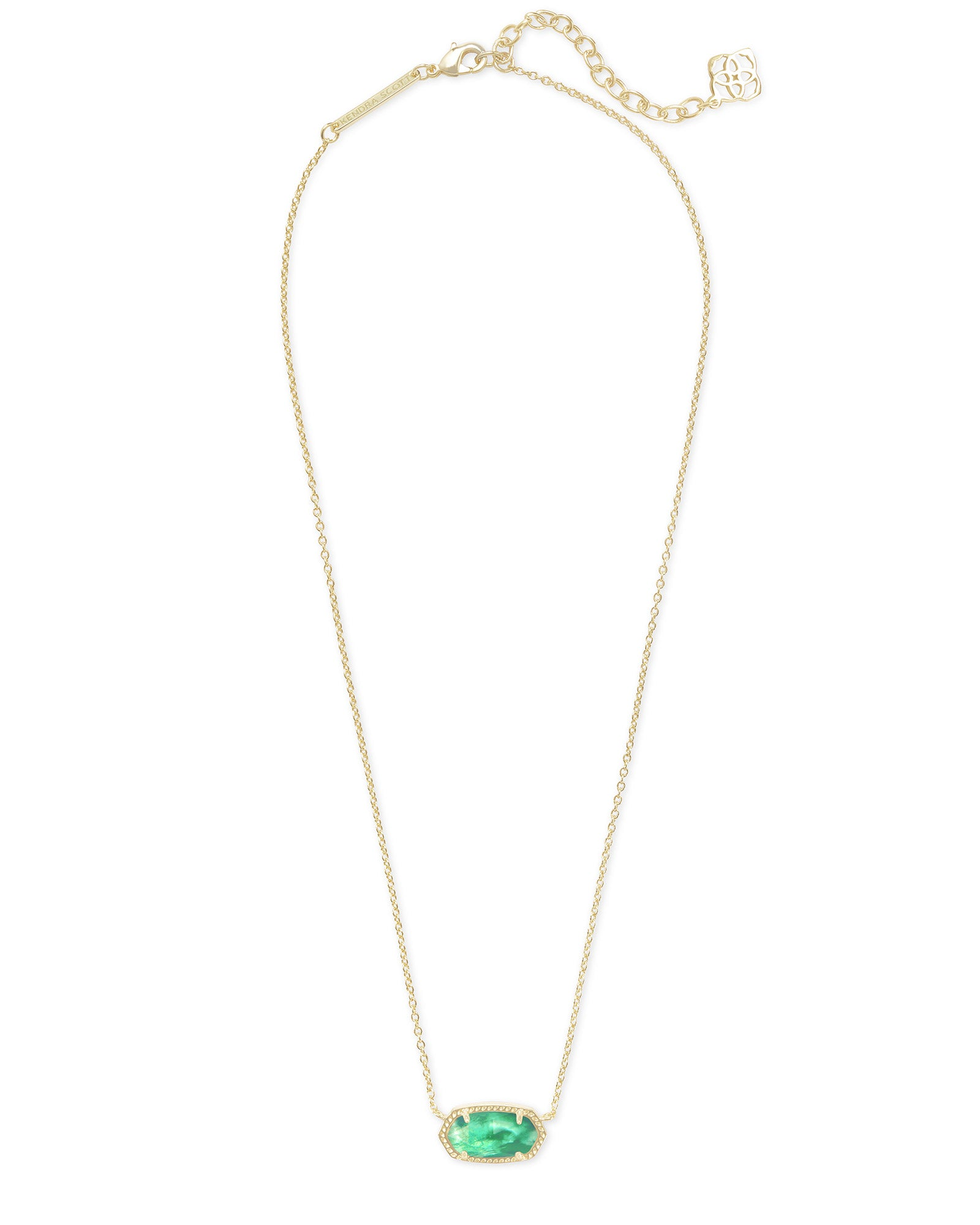 Elisa Gold Pendant Necklace in Jade Green Illusion