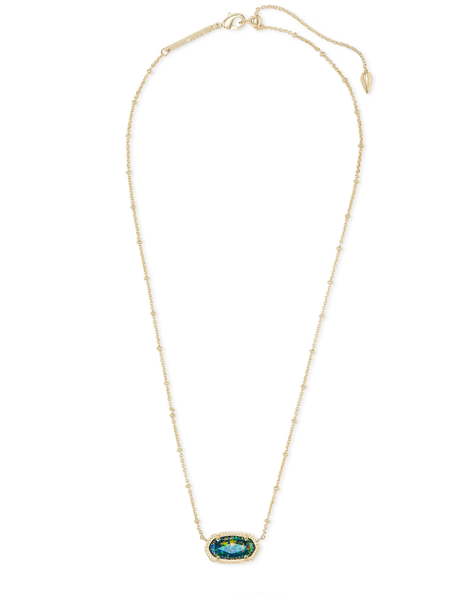 Elisa Gold Satellite Pendant Necklace in Midnight Kyocera Opal
