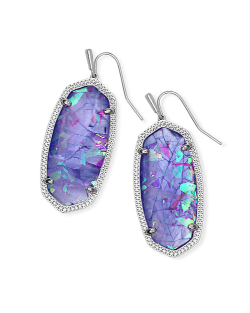 Elle Silver Drop Earrings in Iridescent Lilac Illusion