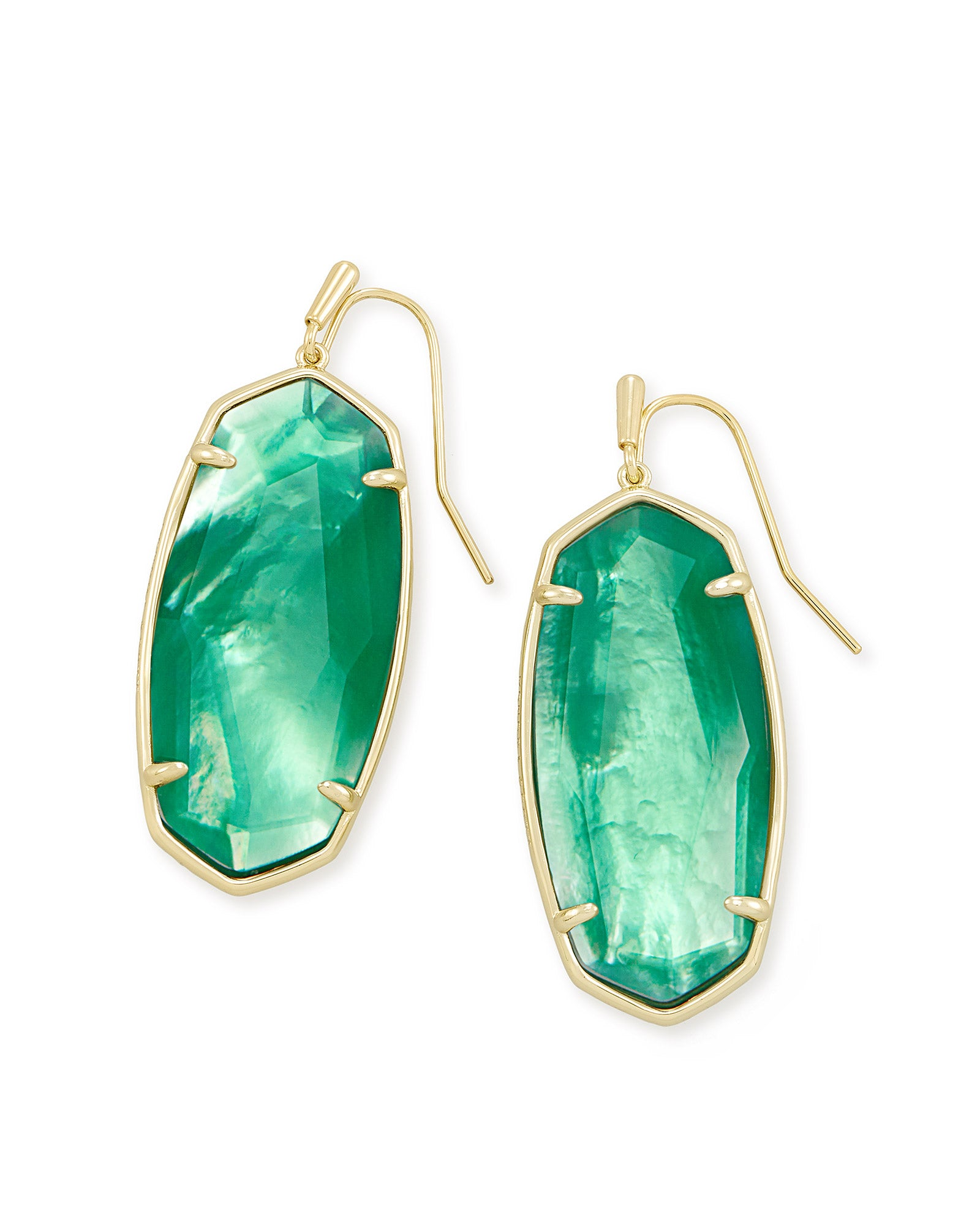 Faceted Elle Gold Drop Earrings in Jade Green Illusion