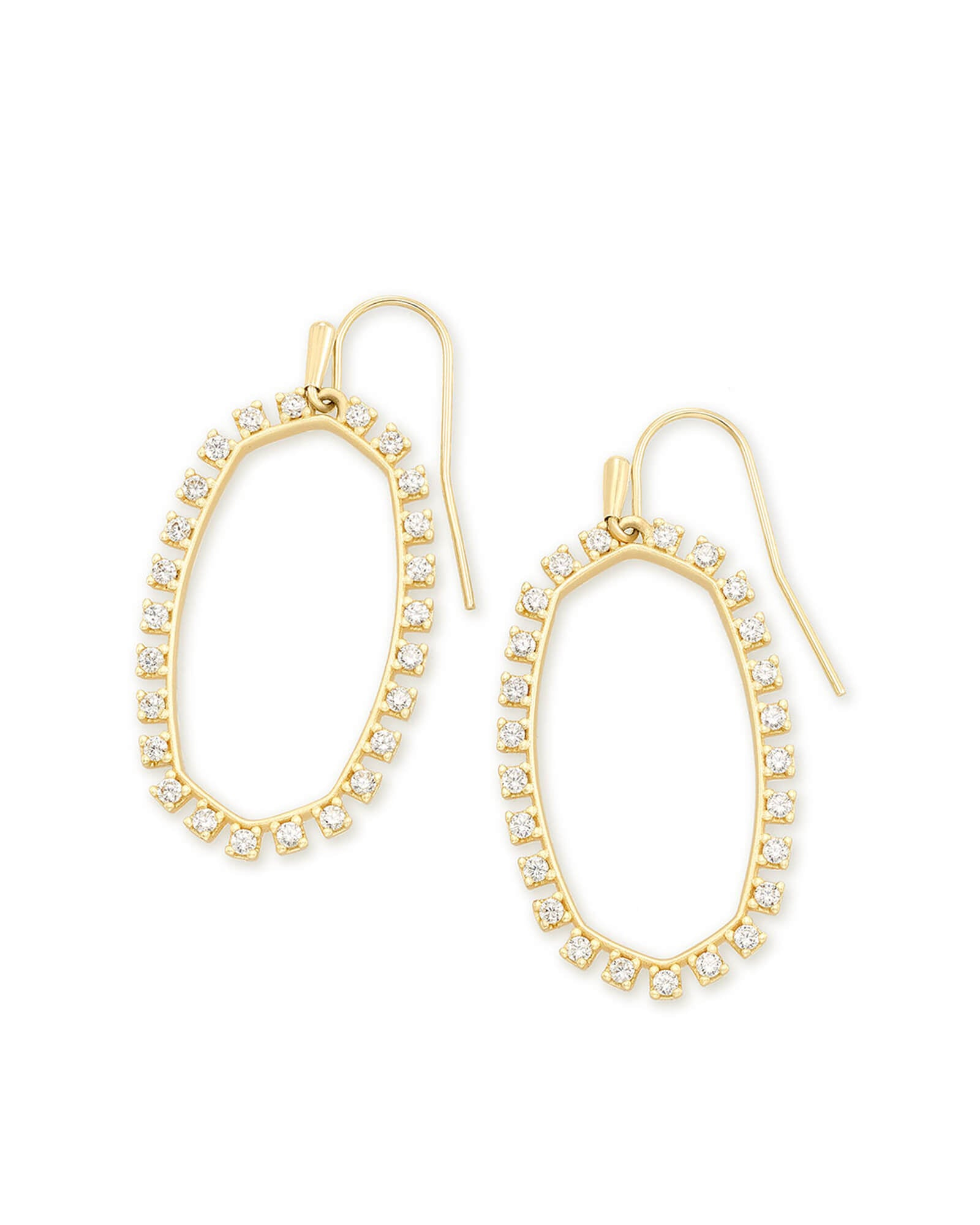 Elle Open Frame Crystal Drop Earrings in Gold