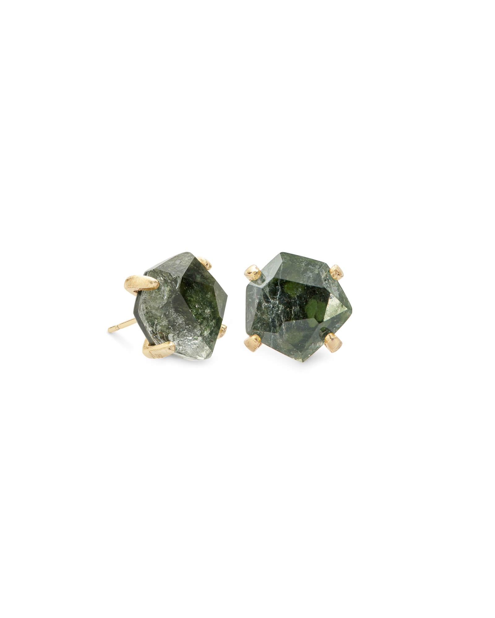 Ellms Gold Stud Earrings in Sage Mica