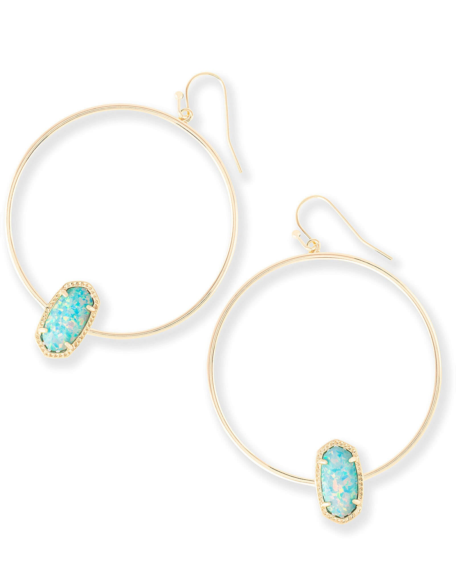 Elora Hoop Earrings in Aqua Kyocera Opal