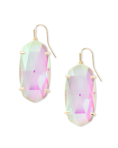 Esme Gold Drop Earrings in Pink Rhodonite