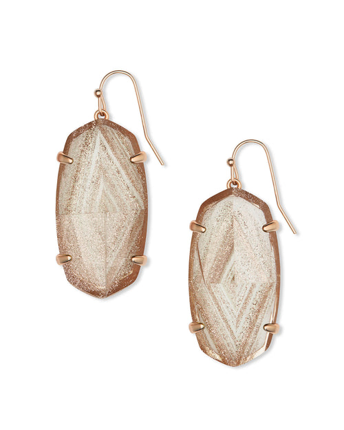 Esme Rose Gold Drop Earrings in Gold Dusted Glass