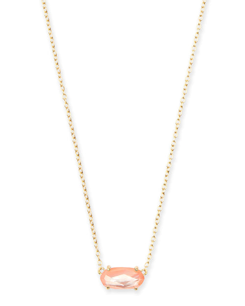Ever Gold Pendant Necklace in Peach Pearl