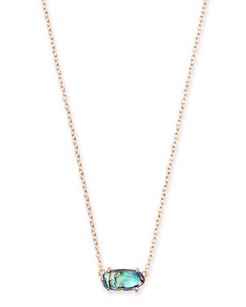 Ever Rose Gold Pendant Necklace in Abalone Shell