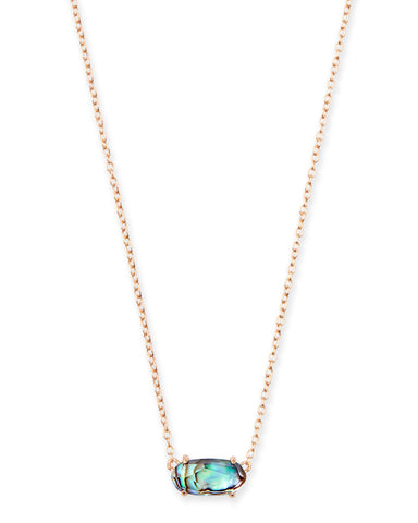 Ellen Long Pendant Necklace in Abalone Shell