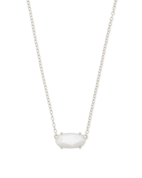 Ever Silver Pendant Necklace in White Pearl