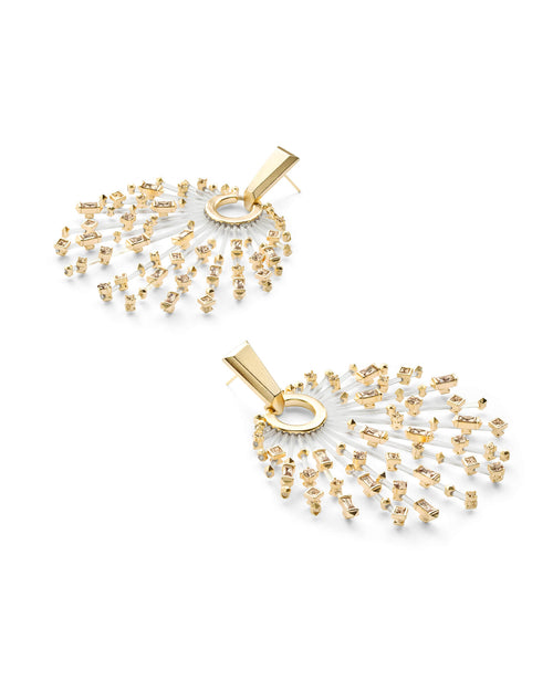 Fabia Gold Statement Earrings in Smoky Mix