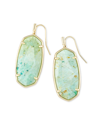 Ryan Gold Stud Earrings In Bright Aqua Drusy