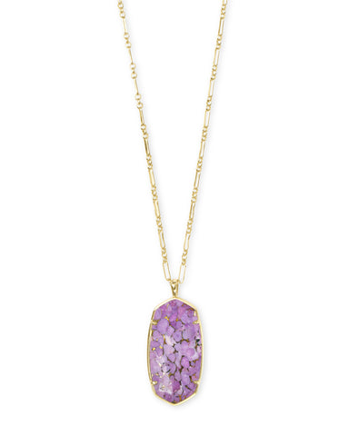 Cynthia Gold Pendant Necklace In Lilac Magnesite
