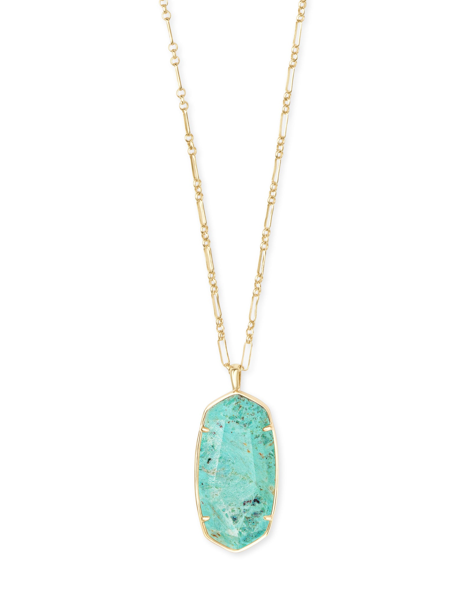 Faceted Reid Gold Long Pendant Necklace In Sea Green Chrysocolla