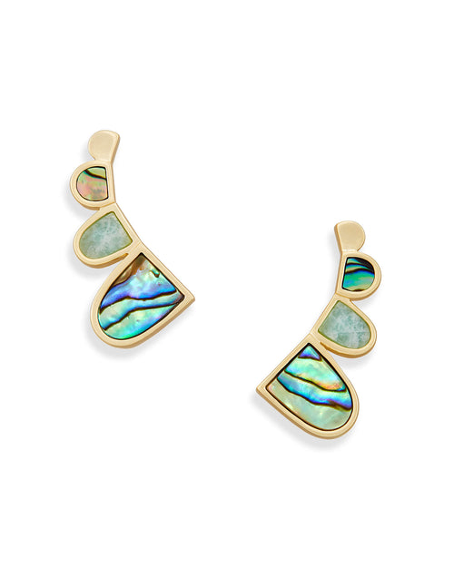 Fannie Ear Climbers In Abalone Shell